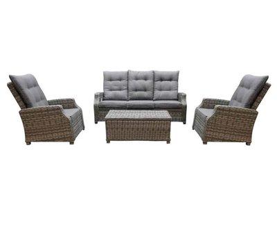 AVH-Collectie Kreta stoel-bank loungeset verstelbaar 4-delig grijs