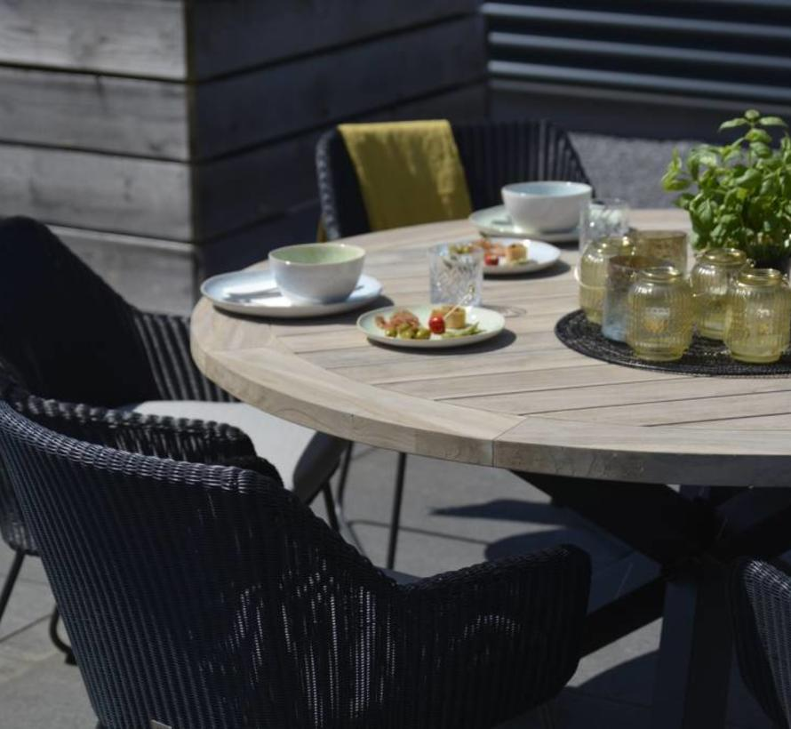 Avila Derby dining tuinset rond 5-delig aluminium teak Taste 4SO
