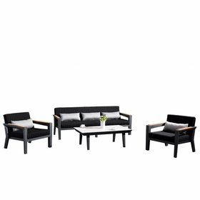 Higold Champion stoel-bank loungeset 4-delig antraciet aluminium