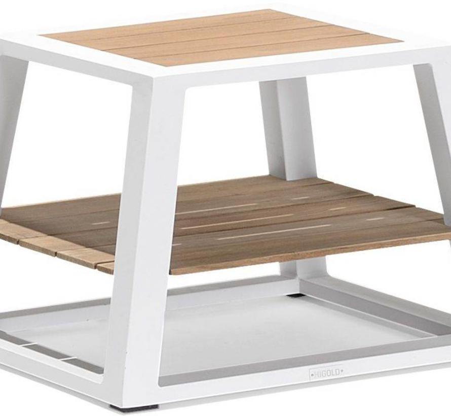 York stoel-bank loungeset 5-delig wit aluminium zwarte kussens
