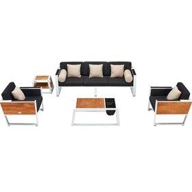 Higold York stoel-bank loungeset 5-delig wit aluminium zwarte kussens