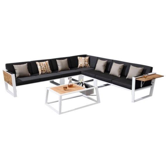 York hoek loungeset 6-delig wit aluminium zwarte kussens