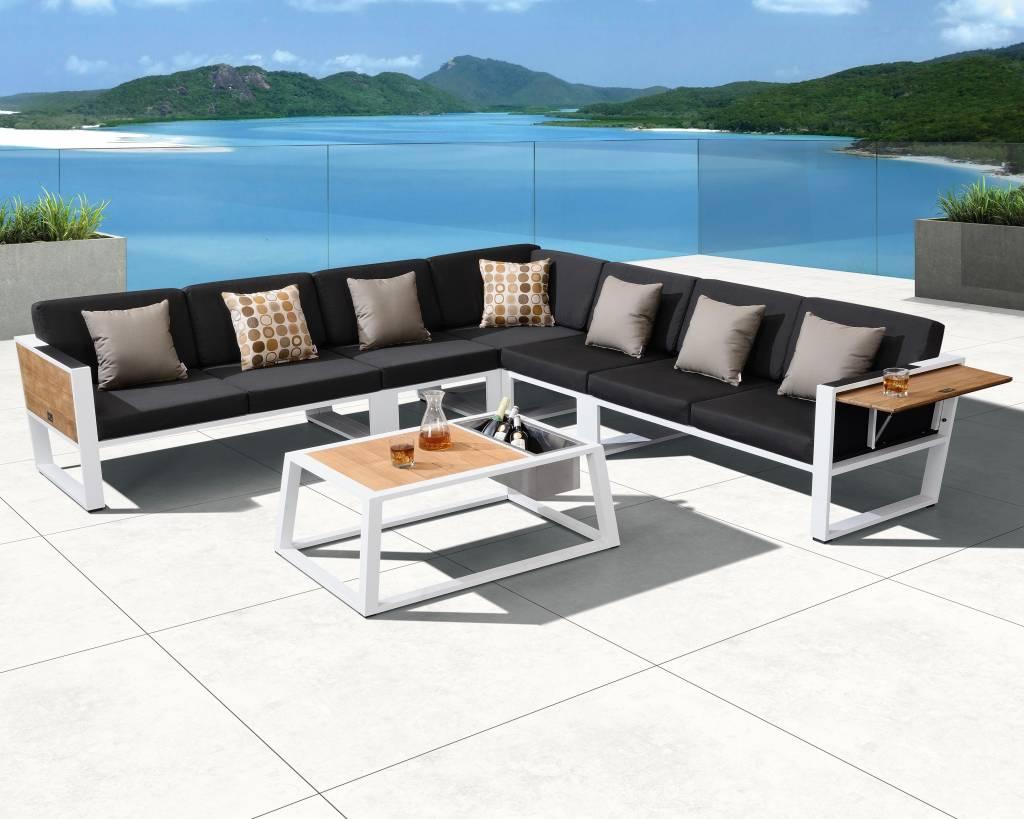 Kussen Wit 6 : York hoek loungeset delig wit aluminium zwarte kussens avh
