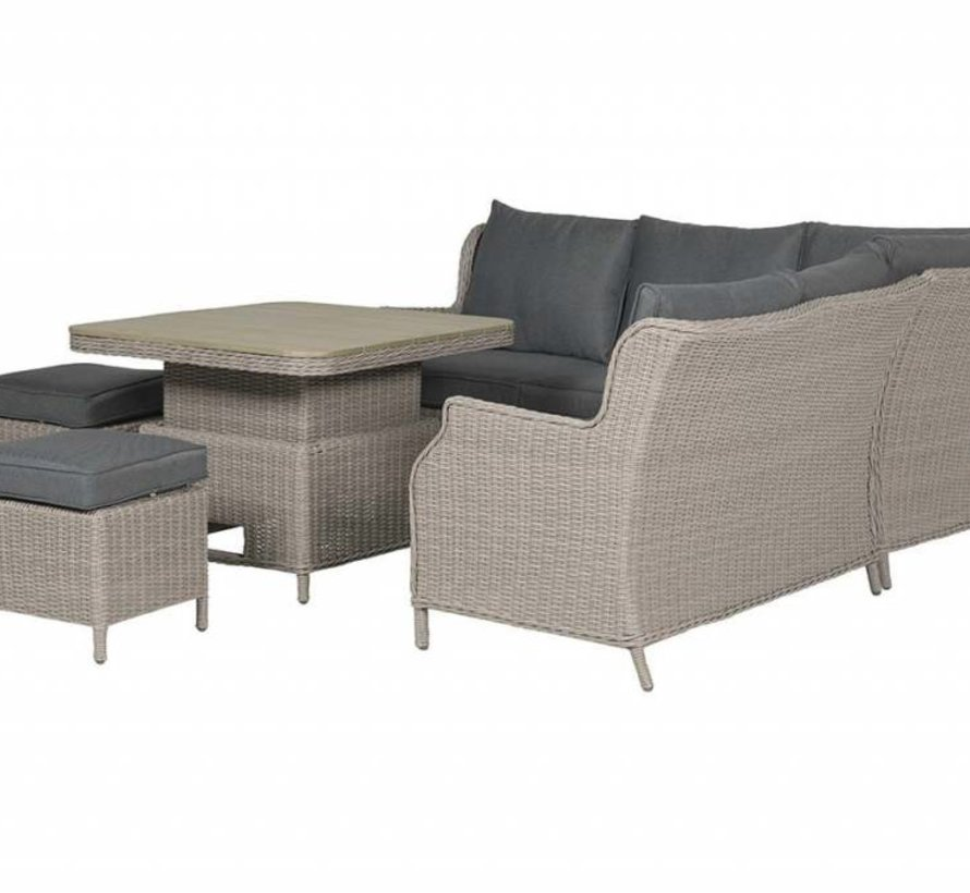Newton dining loungeset verstelbare tafel 5-delig taupe