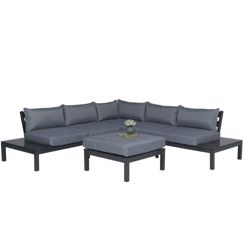 Annabella hoek loungeset 4-delig aluminium donker grijs