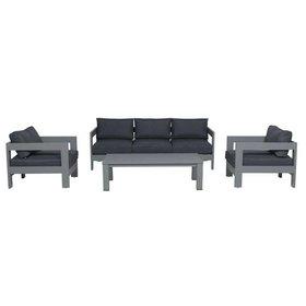 Garden Impressions Romero stoel-bank loungeset 4-delig antraciet aluminium