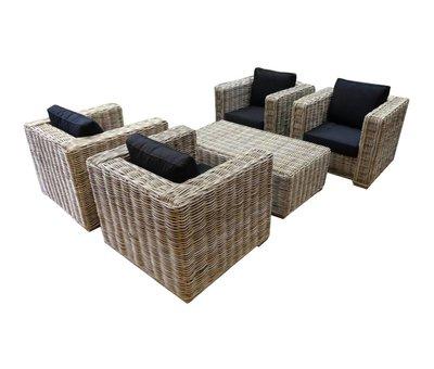 AVH-Collectie Nissah stoel loungeset 5-delig naturel rotan
