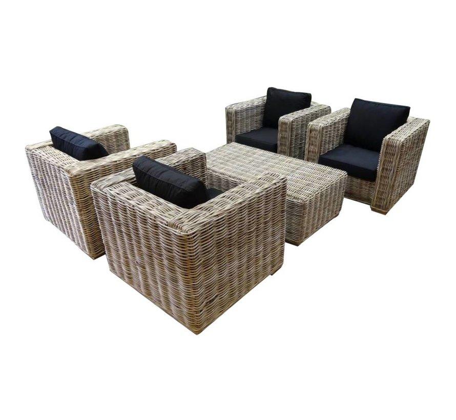 Nissah stoel loungeset 5-delig naturel rotan