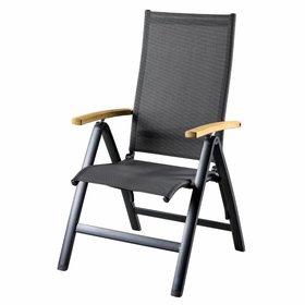 SUNS Lucca standenstoel verstelbaar aluminium antraciet met armleuning teak