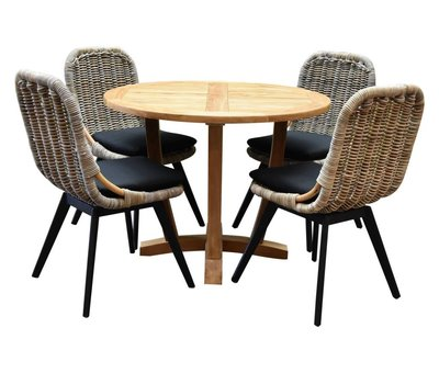AVH-Collectie Legand Bandung dining tuinset 120 cm rond 5-delig teak rotan