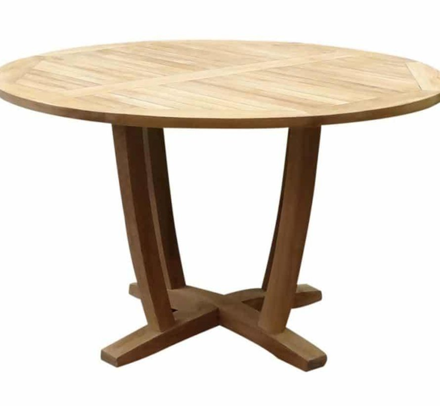 Legand Bandung dining tuinset 120 cm rond 5-delig teak rotan