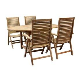 AVH-Collectie Arona Ovaal uitschuifbare dining tuinset 160-210x90 cm blad 2,8 cm 5-delig teakhout