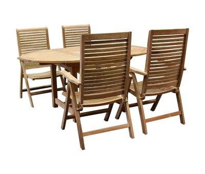 AVH-Collectie Arona Ovaal uitschuifbare dining tuinset 160-210x100 cm blad 2,8 cm 5-delig teakhout