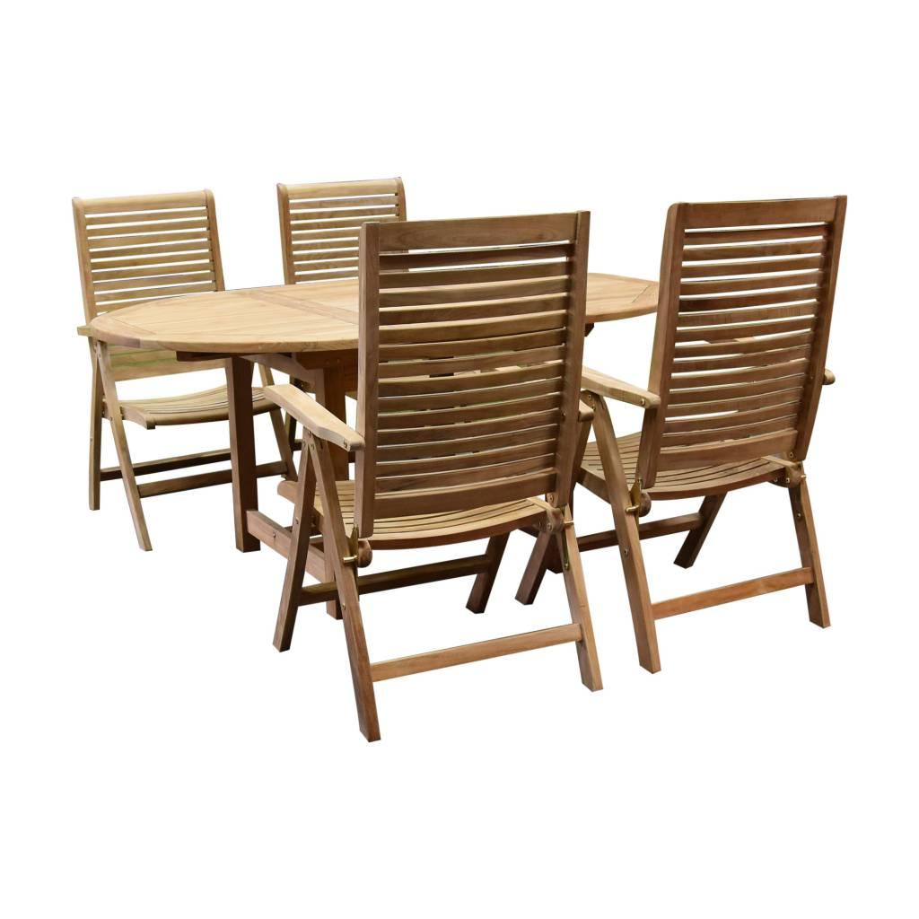 Arona Ovaal uitschuifbare dining tuinset 160-210x100 cm blad 2,8 cm 5-delig teakhout