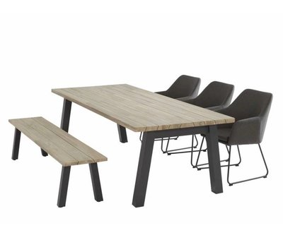 4 Seasons Outdoor Derby Amora dining tuinset 240x100xH75 cm 5-delig 4 Seasons Outdoor
