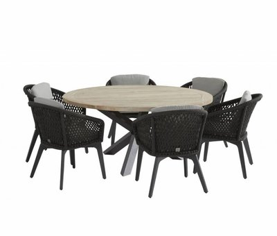 4 Seasons Outdoor Louvre Belize dining tuinset 160 cm rond 7-delig 4 Seasons Outdoor