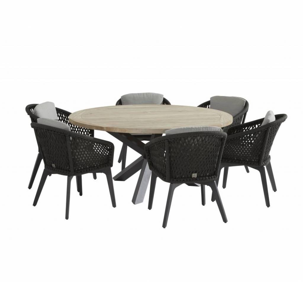 Louvre Belize dining tuinset 160 cm rond 7-delig 4 Seasons Outdoor