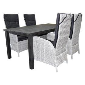 AVH-Collectie Montale Menorca dining tuinset 180x90xH72 cm 5-delig antraciet aluminium wit grijs
