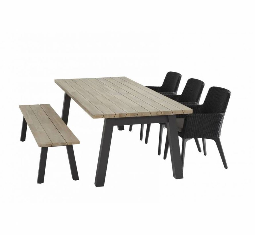 Derby Lisboa dining tuinset 240x100xH75 cm 5-delig  4 Seasons Outdoor