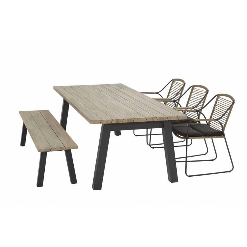 Derby Scandic dining tuinset 240x100xH75 cm 5-delig  rope teak 4Seasons Outdoor