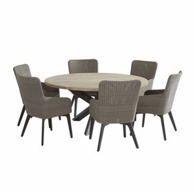 4 Seasons Outdoor Louvre Luxor dining tuinset 160 cm rond 7-delig 4Seasons Outdoor