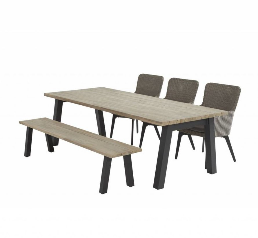 Derby Luxor dining tuinset 240x100 cm rechthoek 5-delig 4Seasons Outdoor