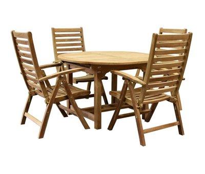 AVH-Collectie Arona Ovaal uitschuifbare dining tuinset 120-170x120xH76 cm 5-delig teak