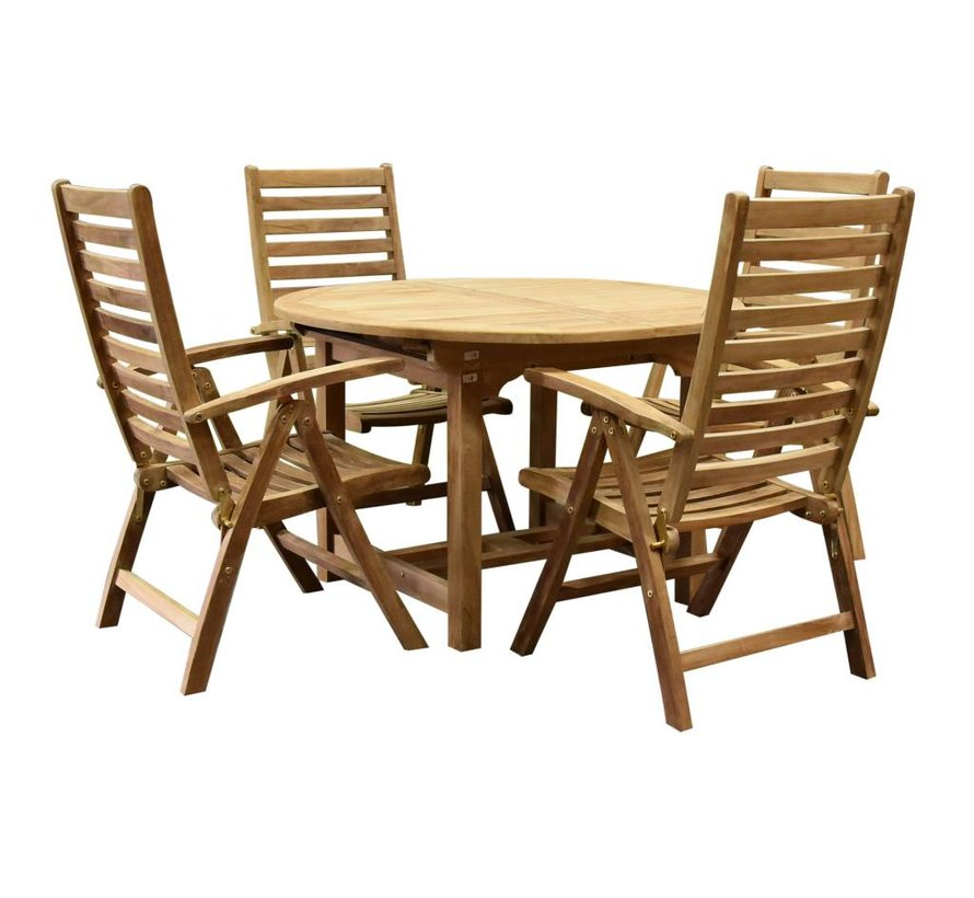 Arona Ovaal uitschuifbare dining tuinset 120-170x120xH76 cm 5-delig teak
