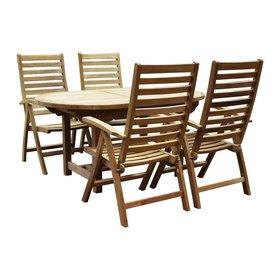 AVH-Collectie Arona Ovaal uitschuifbare dining tuinset 160-210x90xH76 cm blad 4 cm 5-delig teak