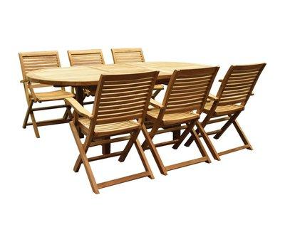AVH-Collectie Arona Ovaal uitschuifbare dining tuinset 160-210x90 cm blad 2,8 cm 7-delig teak