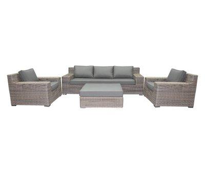 AVH-Collectie Riga stoel-bank loungeset 4-delig bruin