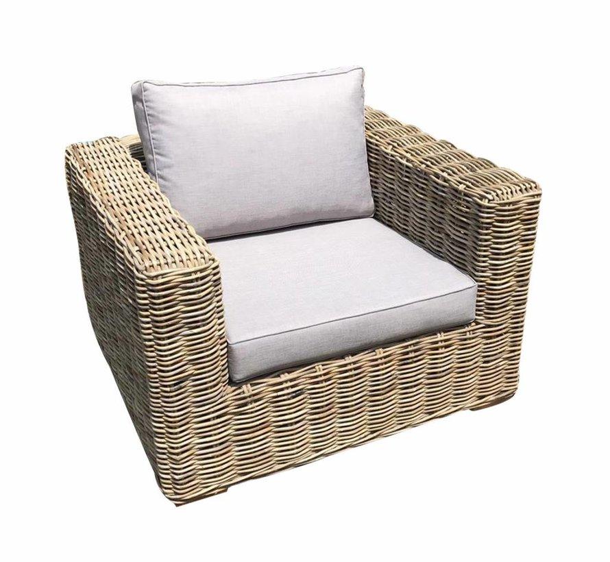 Serva stoel-bank loungeset 4-delig naturel rotan