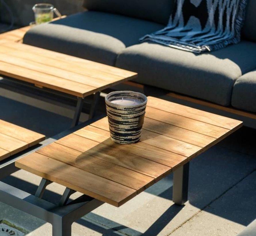 Memphis xl  hoek loungeset 4-delig zwart aluminium + donker grijze kussens SUNS