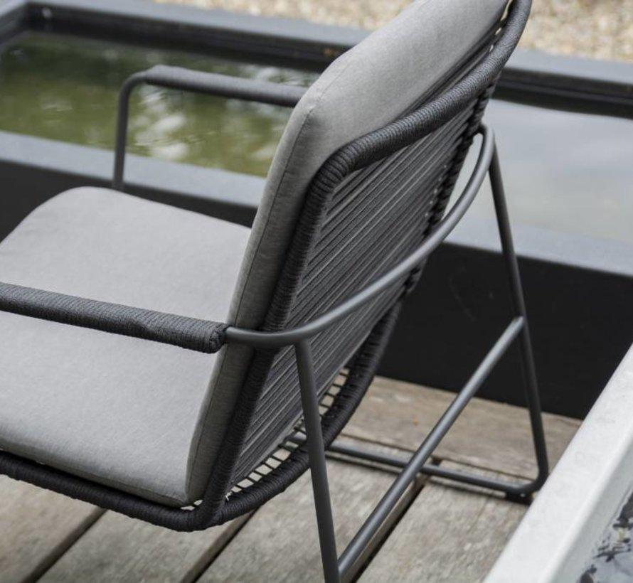 Elba stoel-bank loungeset 4-delig antraciet rope teak Taste 4SO