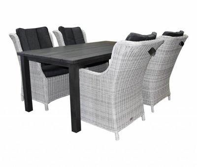 AVH-Collectie Montale Darwin XL dining tuinset 180x90xH72 cm 5-delig antraciet aluminium wit grijs