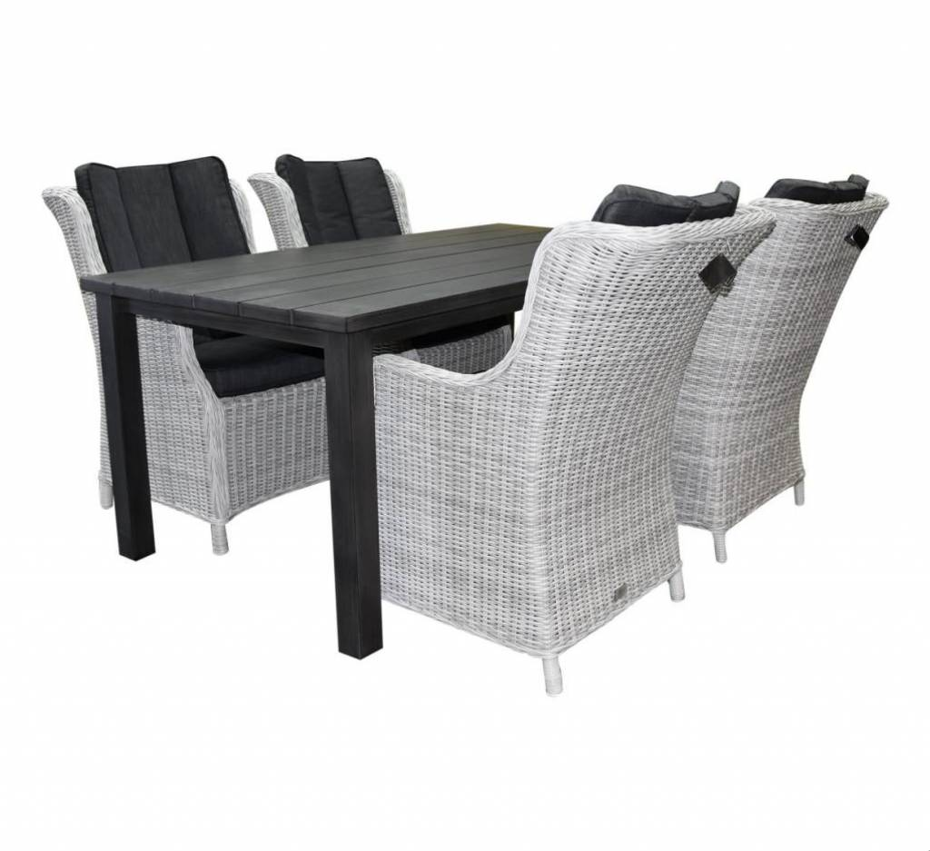 Montale Darwin XL dining tuinset 180x90xH72 cm 5-delig antraciet aluminium wit grijs