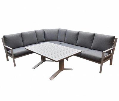 AVH-Collectie Sevilla hoek dining loungeset 5-delig aluminium wit