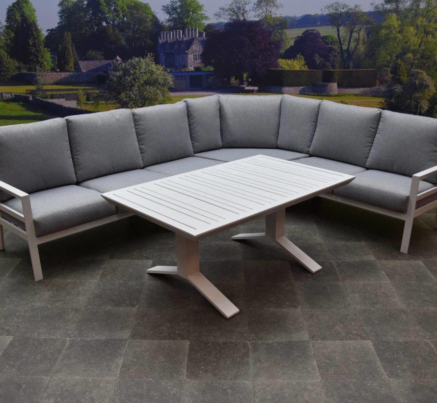 Sevilla hoek dining loungeset 5-delig aluminium wit