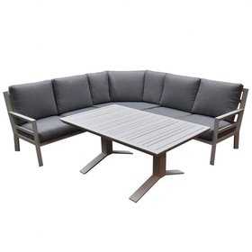 AVH-Collectie Sevilla hoek dining loungeset 4-delig aluminium wit
