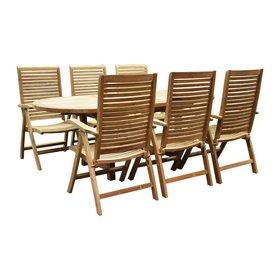 AVH-Collectie Arona Ovaal uitschuifbare dining tuinset 160-210x90 cm blad 4 cm 7-delig teak