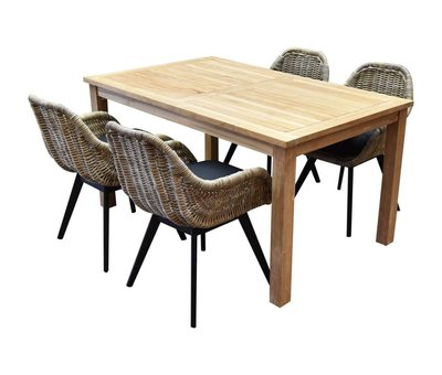 AVH-Collectie Bandung Selena dining tuinset 150x90xH77,5 cm 5-delig