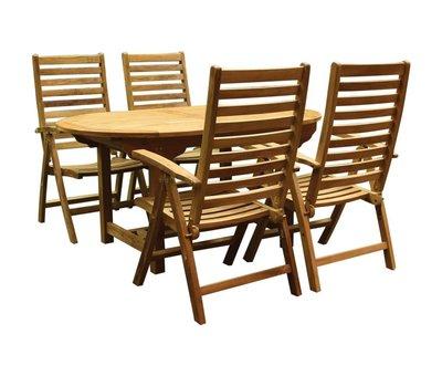 AVH-Collectie Arona Ovaal uitschuifbare dining tuinset 160-210x90 cm blad 2,8 cm 5-delig teak