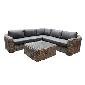 AVH-Collectie Las Palmas hoek loungeset 4-delig bruin wicker