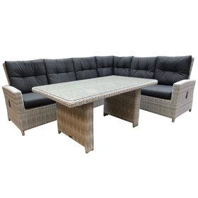 AVH-Collectie San Marino hoek dining loungeset rechts  verstelbaar 3-delig wit grijs