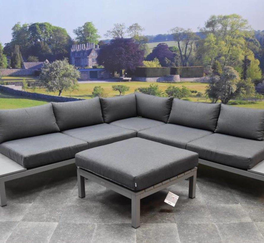Annabella hoek loungeset 4-delig aluminium grijs - Tweedekans