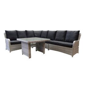 AVH-Collectie Bilbao hoek dining loungeset 5-delig wit grijs