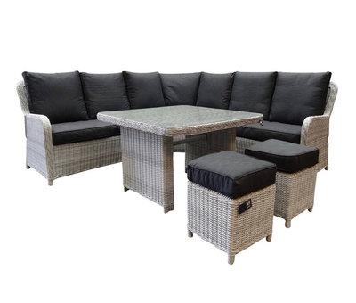 AVH-Collectie Bilbao hoek dining loungeset 6 delig wit grijs