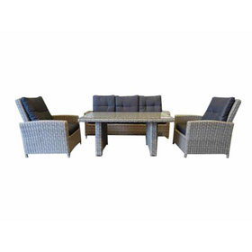 AVH-Collectie San Marino stoel-bank dining loungeset 4-delig grijs