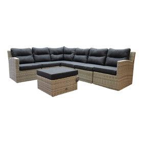 AVH-Collectie Cancun hoek loungeset loungeset 7-delig grijs wicker