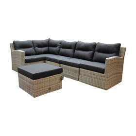 AVH-Collectie Cancun hoek loungeset loungeset 6-delig grijs wicker